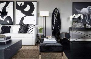 σαλόνι με ασπρόμαυρη διακόσμηση